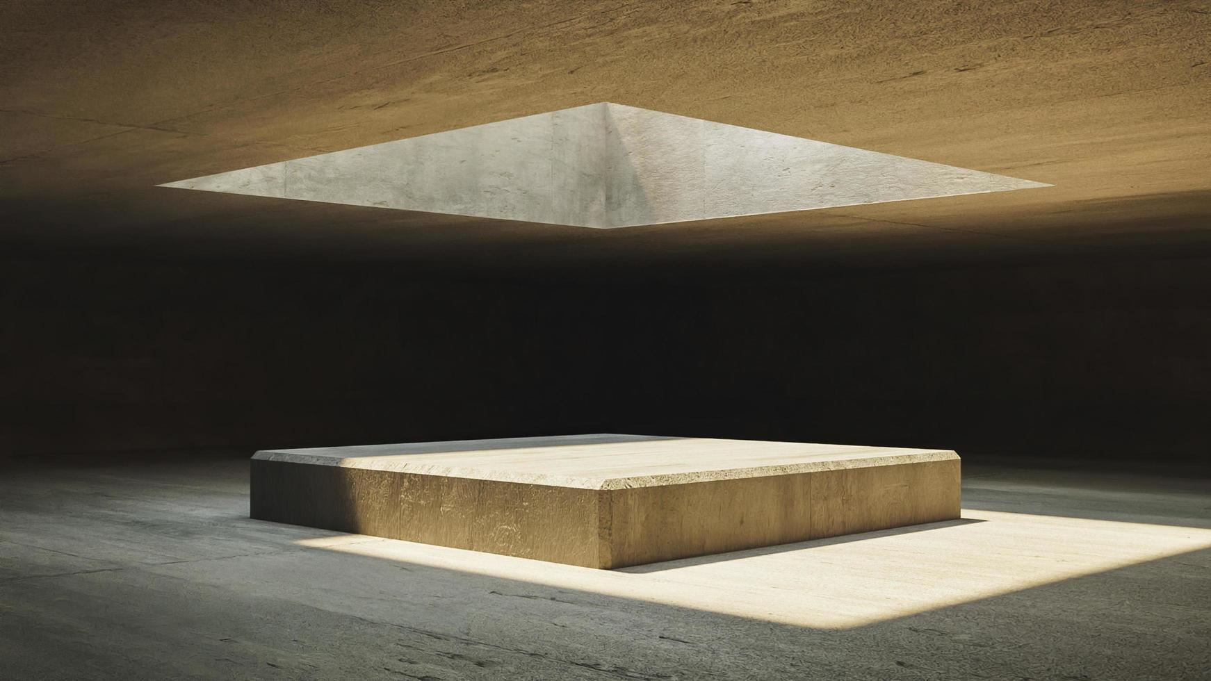 interior con paredes de hormigón y ventana superior foto