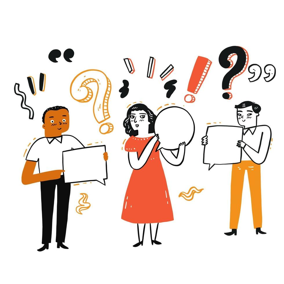 Different people with punctuation holding speech bubble signs vector