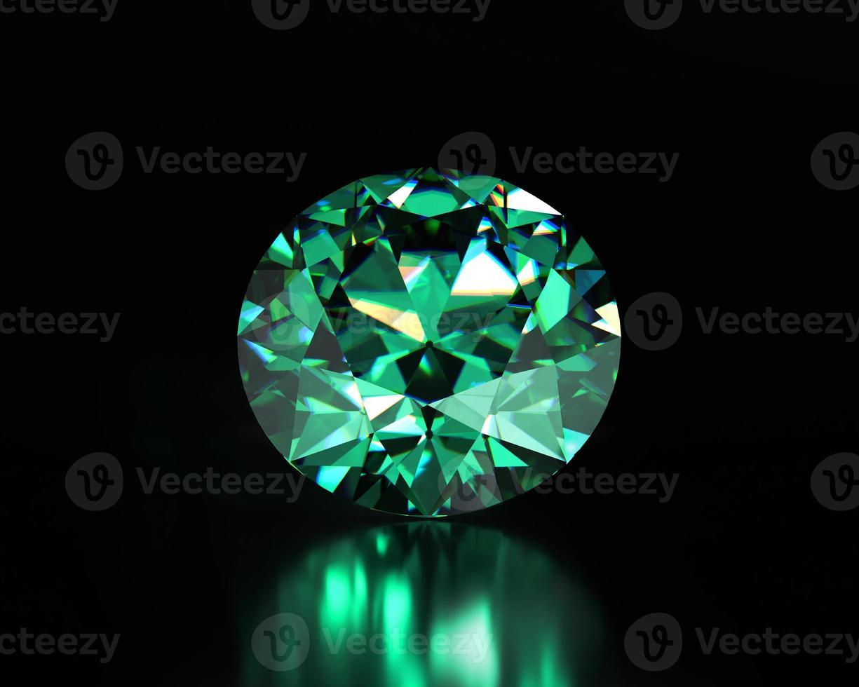 Green emerald diamond placed on dark background, 3d illustration photo