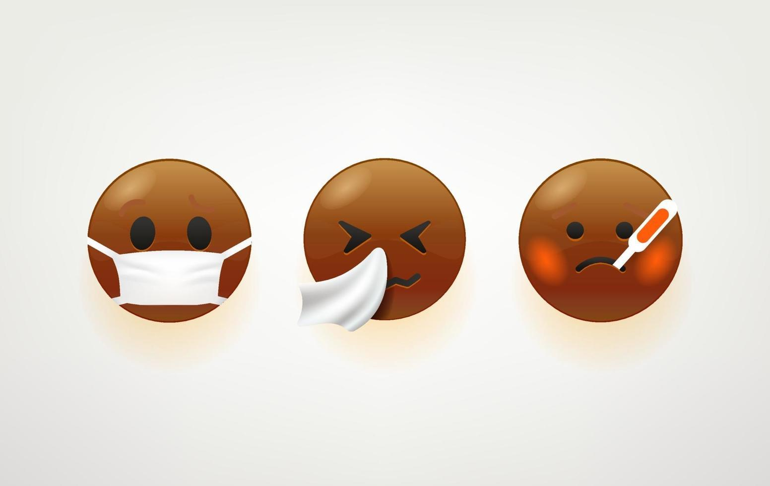 Dark skin emoji faces vector