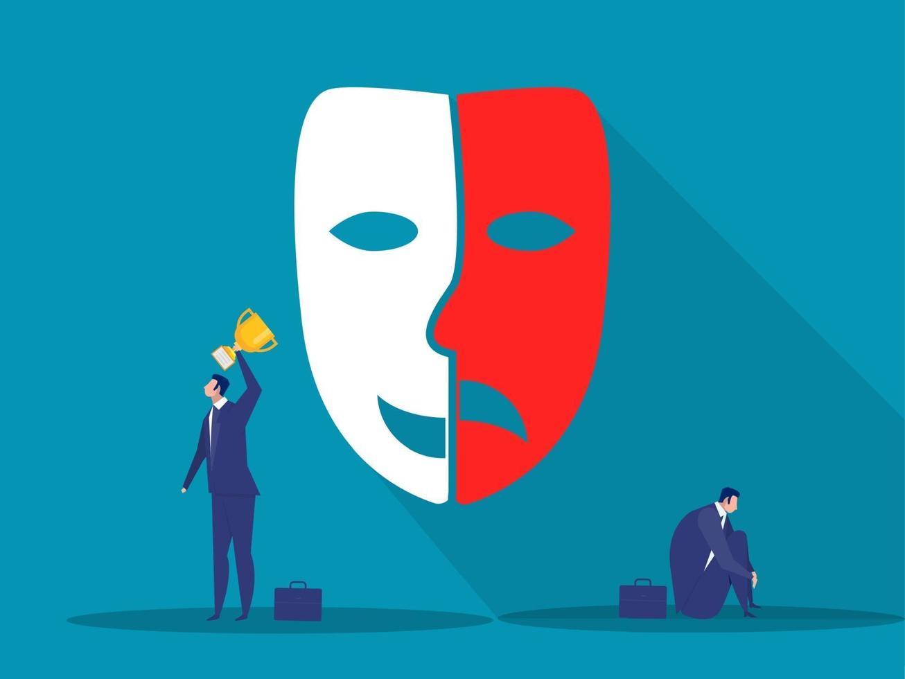 síndrome del impostor. hombre de pie con trofeo y hombre sentado con sombra de miedo detrás. ansiedad y falta de confianza en uno mismo en el trabajo. vector