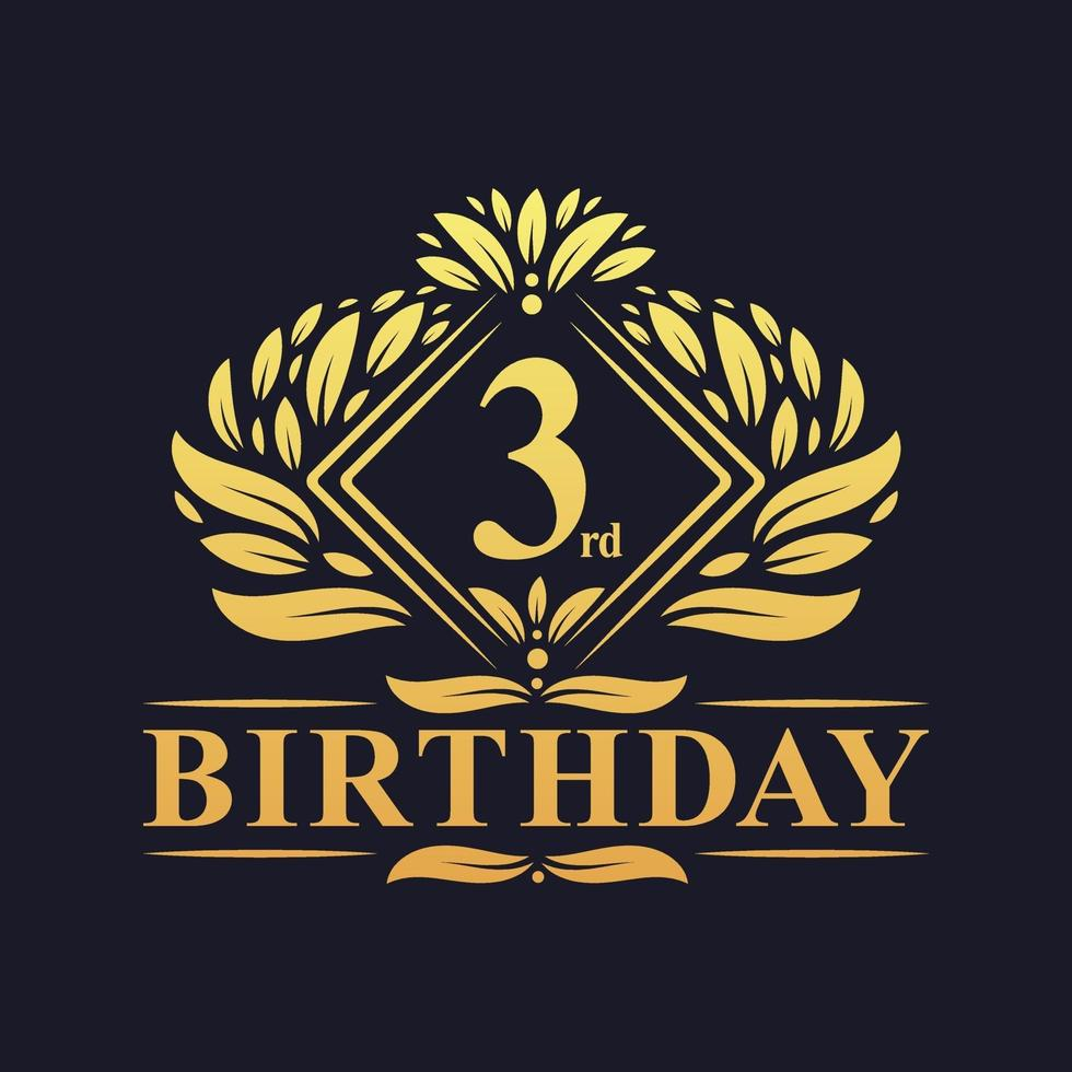 3 years Birthday Logo, Luxury Golden 3rd Birthday Celebration. vector