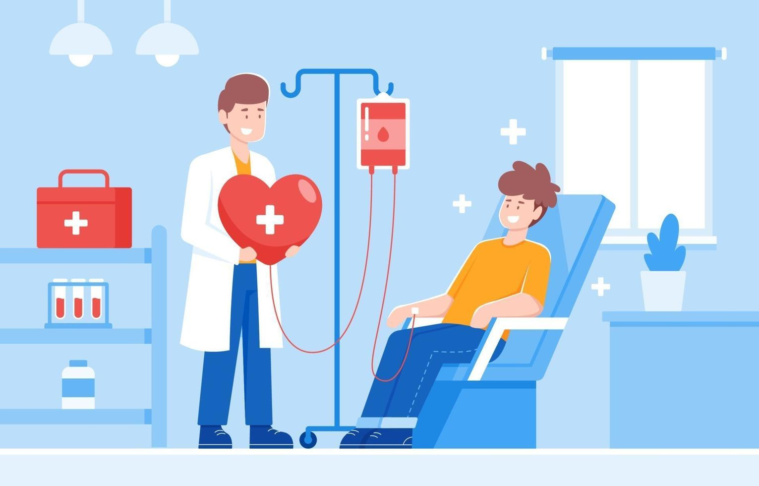 Medical Officer and Volunteer Collection Blood Donation vector