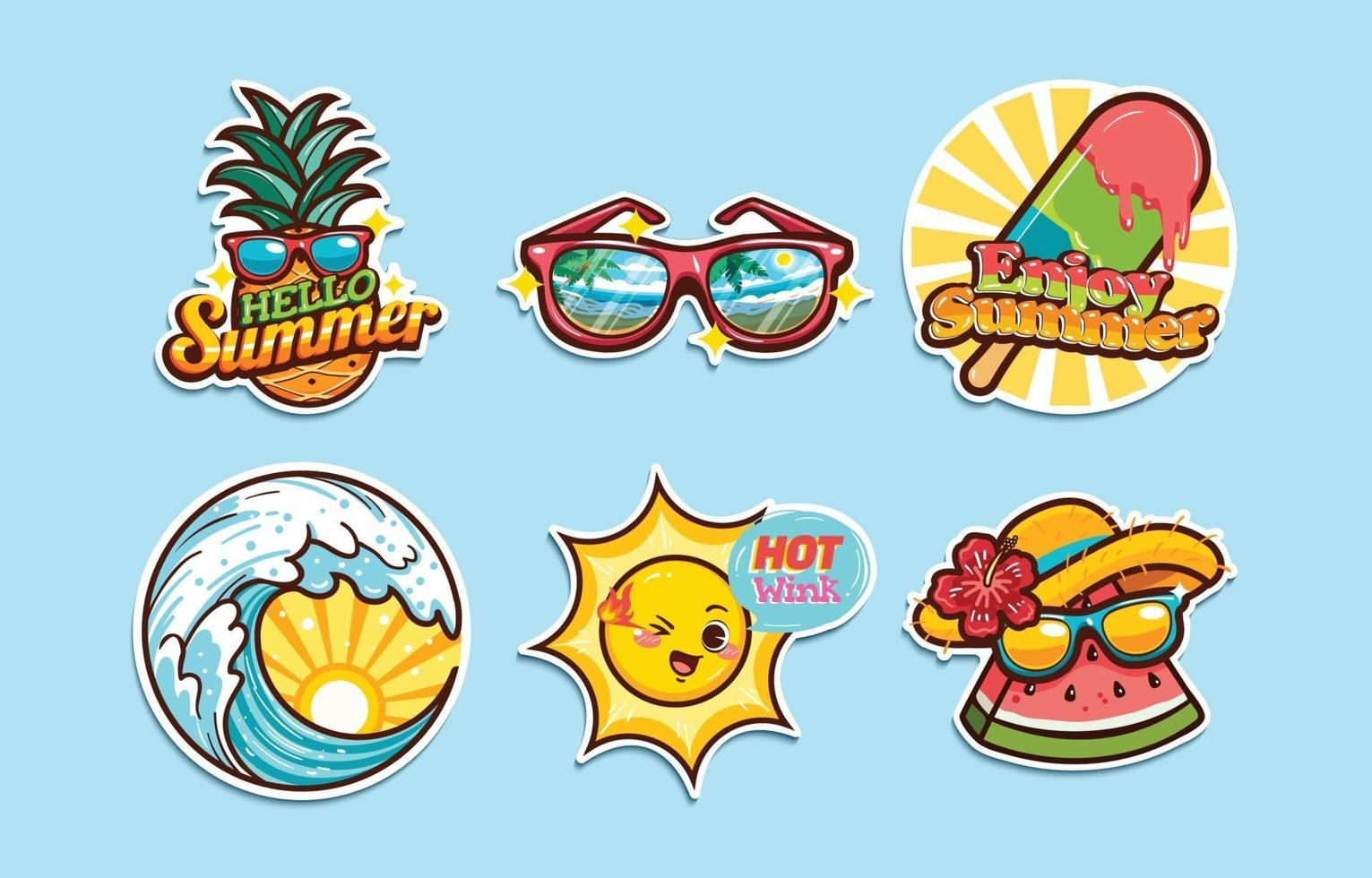 Summer Stickers Collection vector