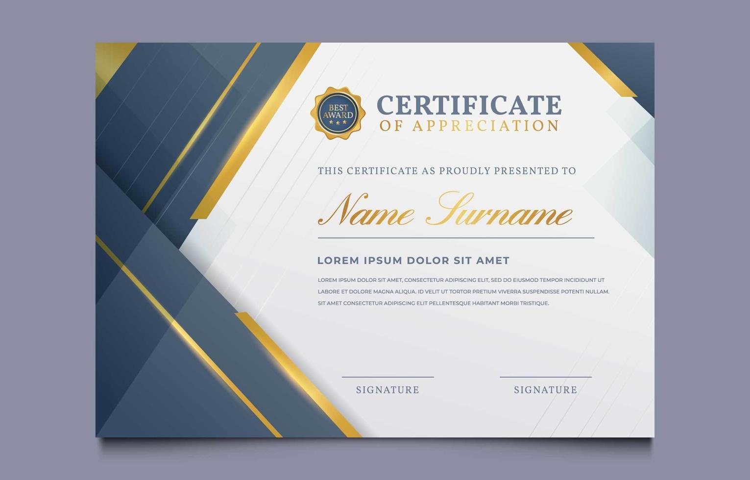 Certificate of Appreciation Template 23 Vector Art at Vecteezy Throughout Certificates Of Appreciation Template