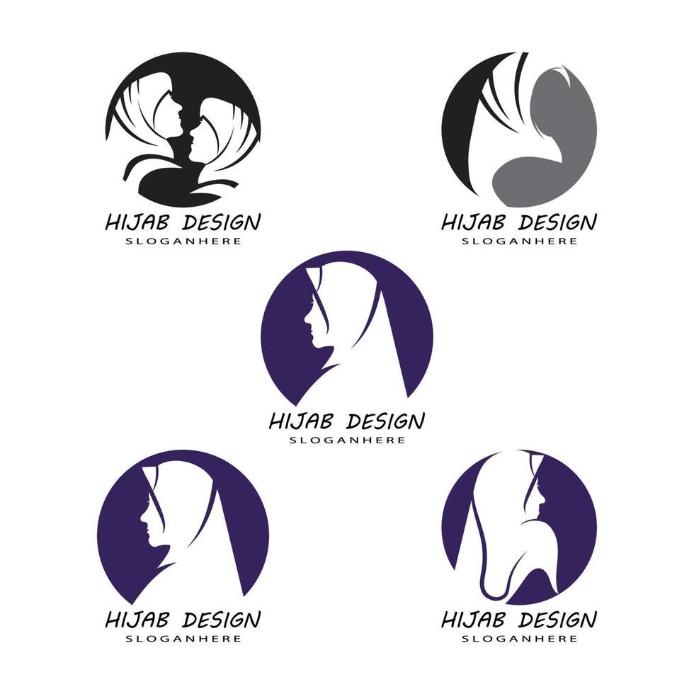 Muslimah hijab logo plantilla diseño ilustración vectorial vector