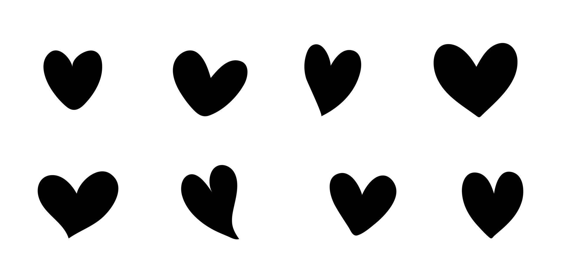 conjunto de símbolos de corazón de amor de San Valentín paquete de vectores aislados iconos dibujados a mano