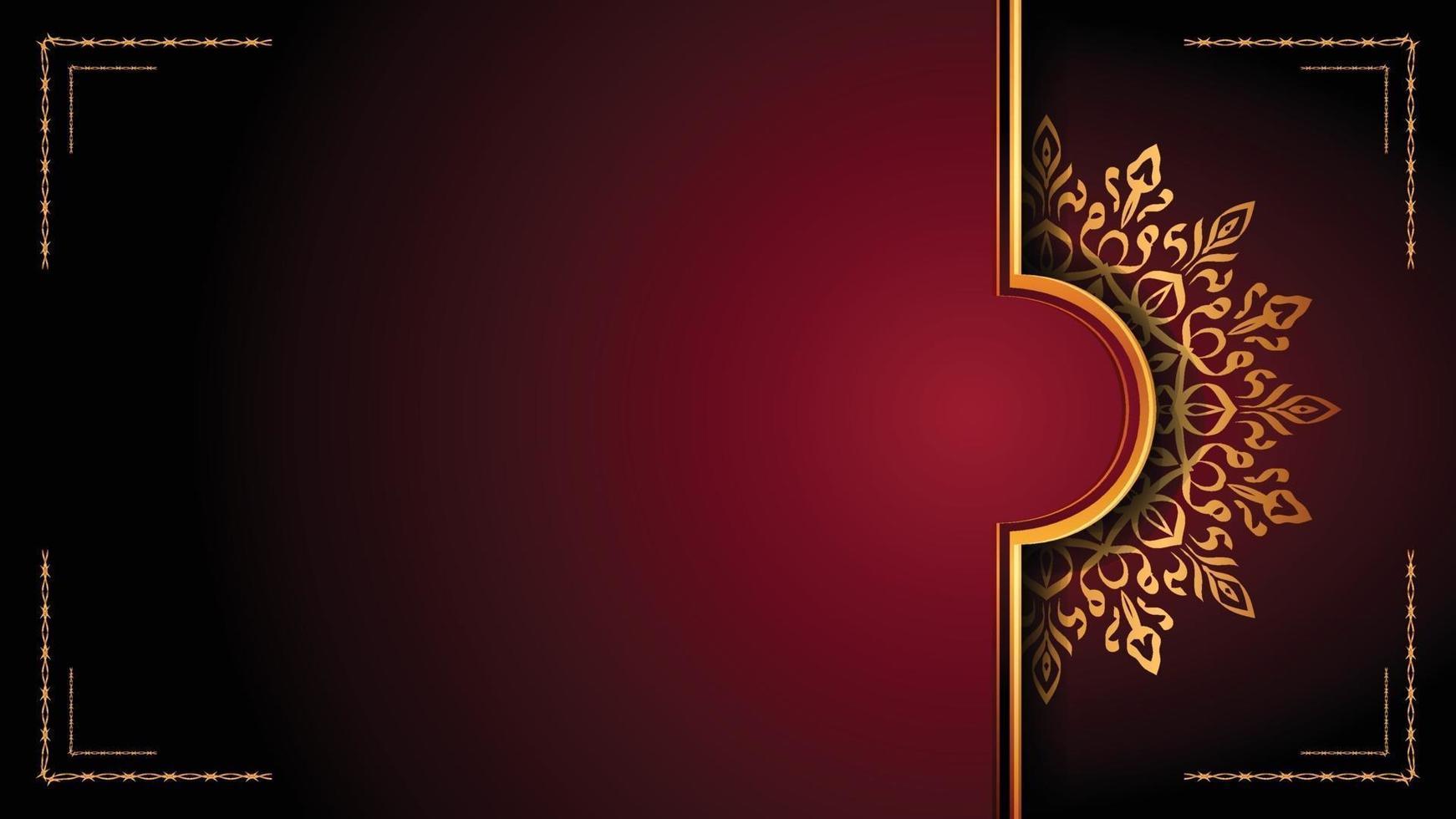 diseño de fondo ornamental de mandala de lujo con estilo de patrón arabesco dorado. Ornamento decorativo de mandala para impresión, folleto, pancarta, portada, póster, tarjeta de invitación. vector