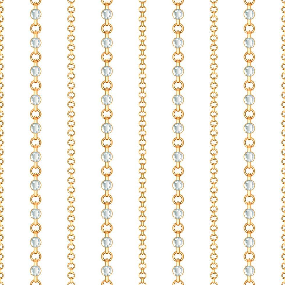 patrón sin fisuras de líneas de cadena de oro sobre fondo blanco. ilustración vectorial vector