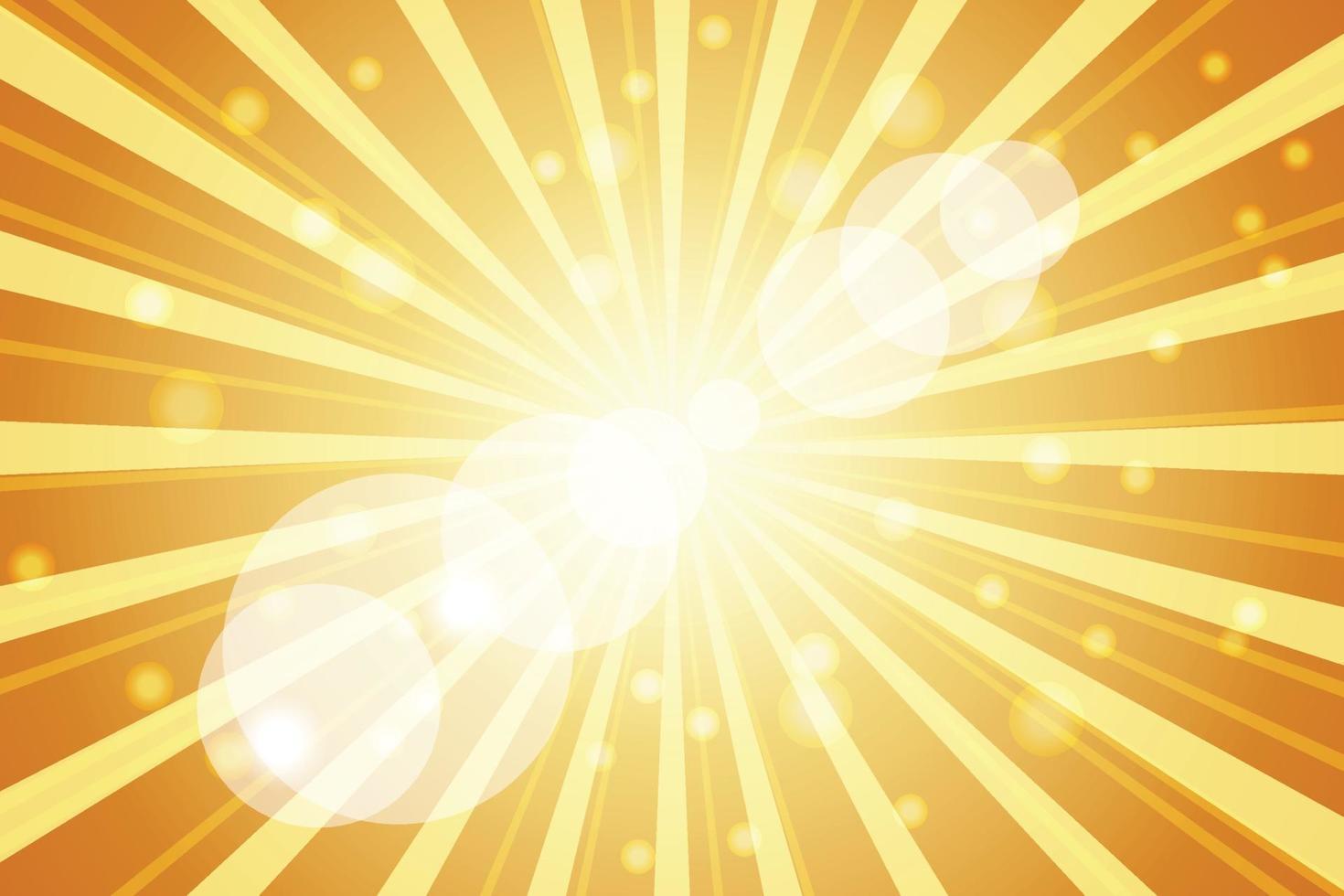 Ilustración de rayos de sol sobre fondo naranja vector