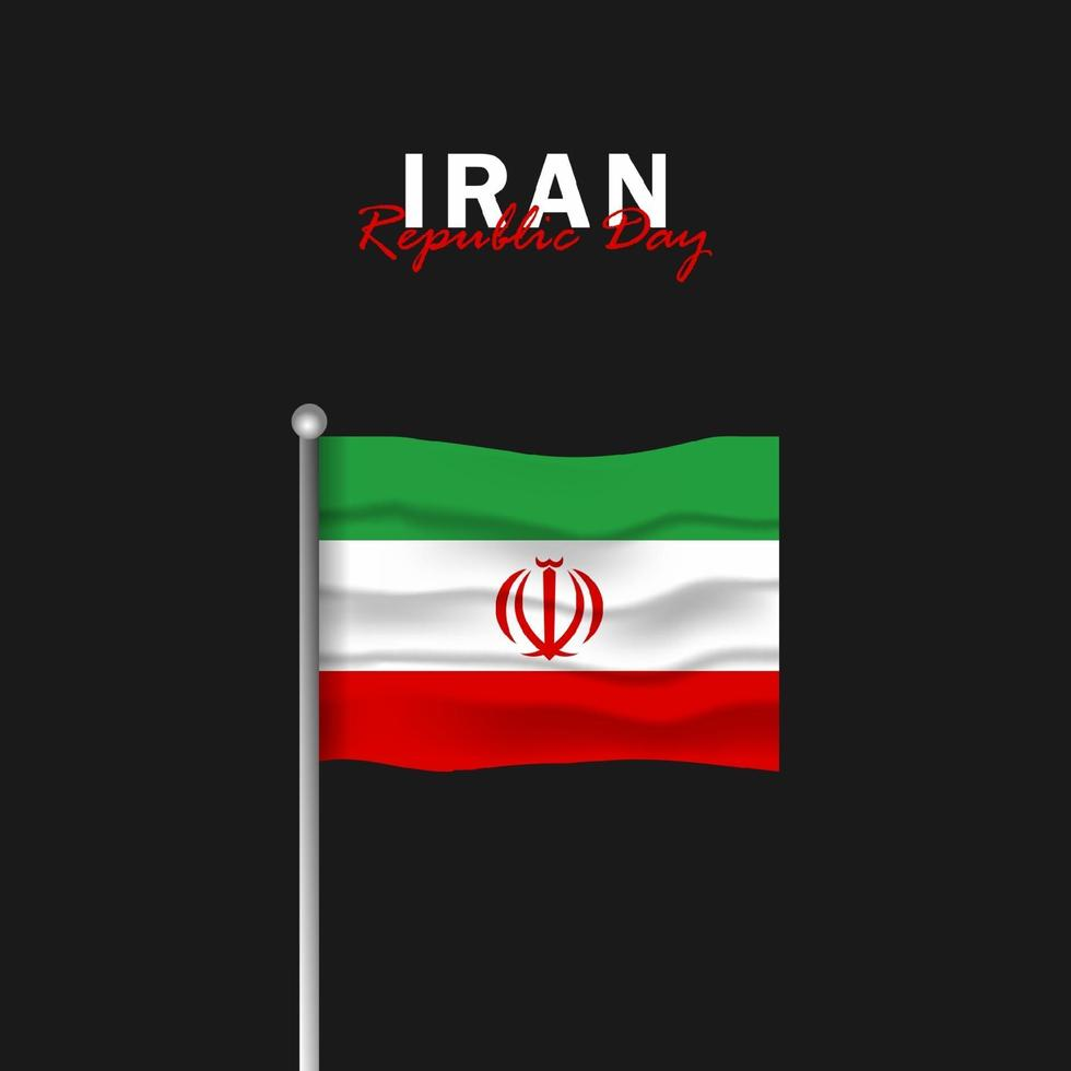 Vector of Republic Day with Iran Flags. Celebration of Iran Republic Day.