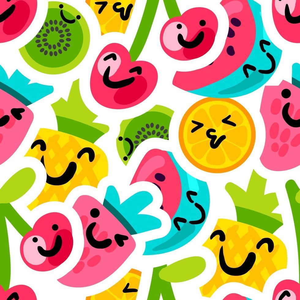 frutas, emoji, pegatinas, seamless, vector, patrón vector
