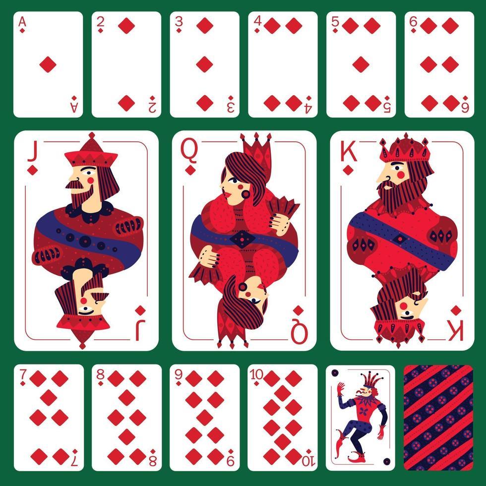 Poker Playing Cards Diamond Suit Set Vector Illustration