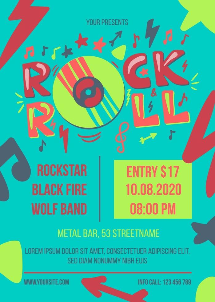 Rock and roll party vector poster template