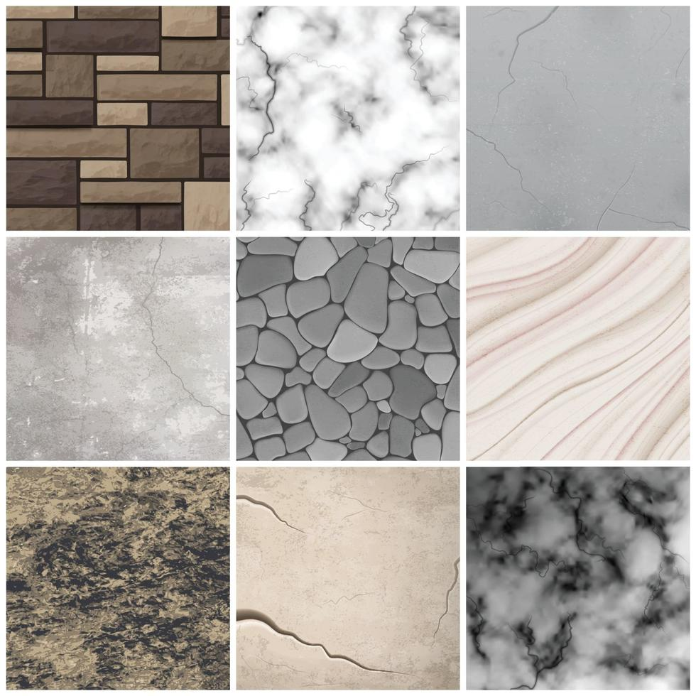 Realistic stone texture patterns collection Vector Illustration