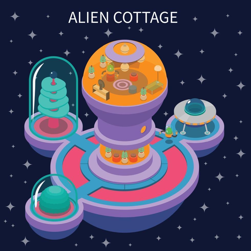 Ilustración de vector de composición isométrica de cabaña alienígena