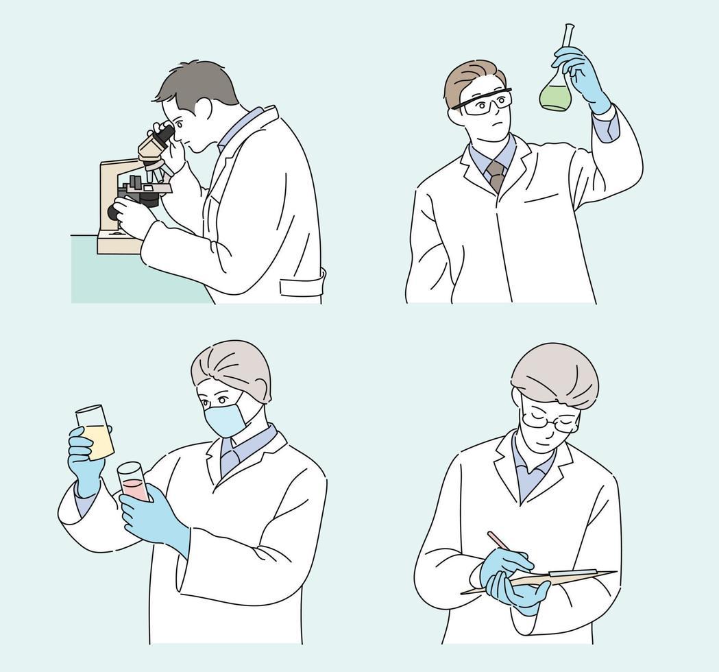 un investigador con una bata blanca está realizando un experimento. ilustraciones de diseño de vectores de estilo dibujado a mano.