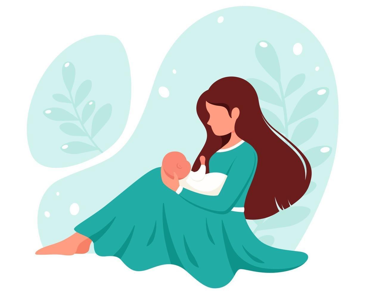 mujer sentada con bebé. maternidad, concepto de crianza. día de la Madre. ilustración vectorial. vector