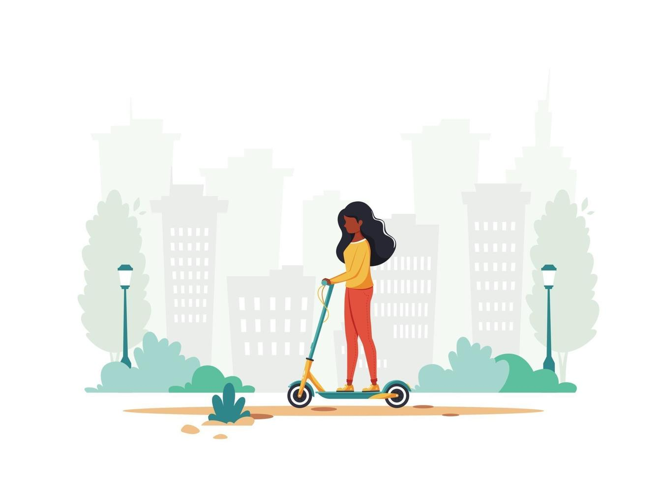 Black woman riding electric kick scooter. Eco transport concept. Vector illustration