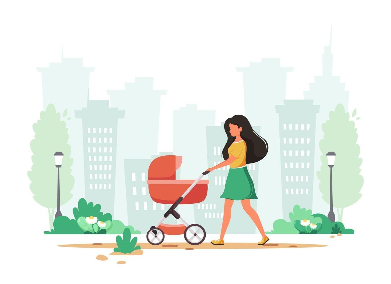 Woman walking with baby carriage in spring. Outdoor activity. Vector illustration.