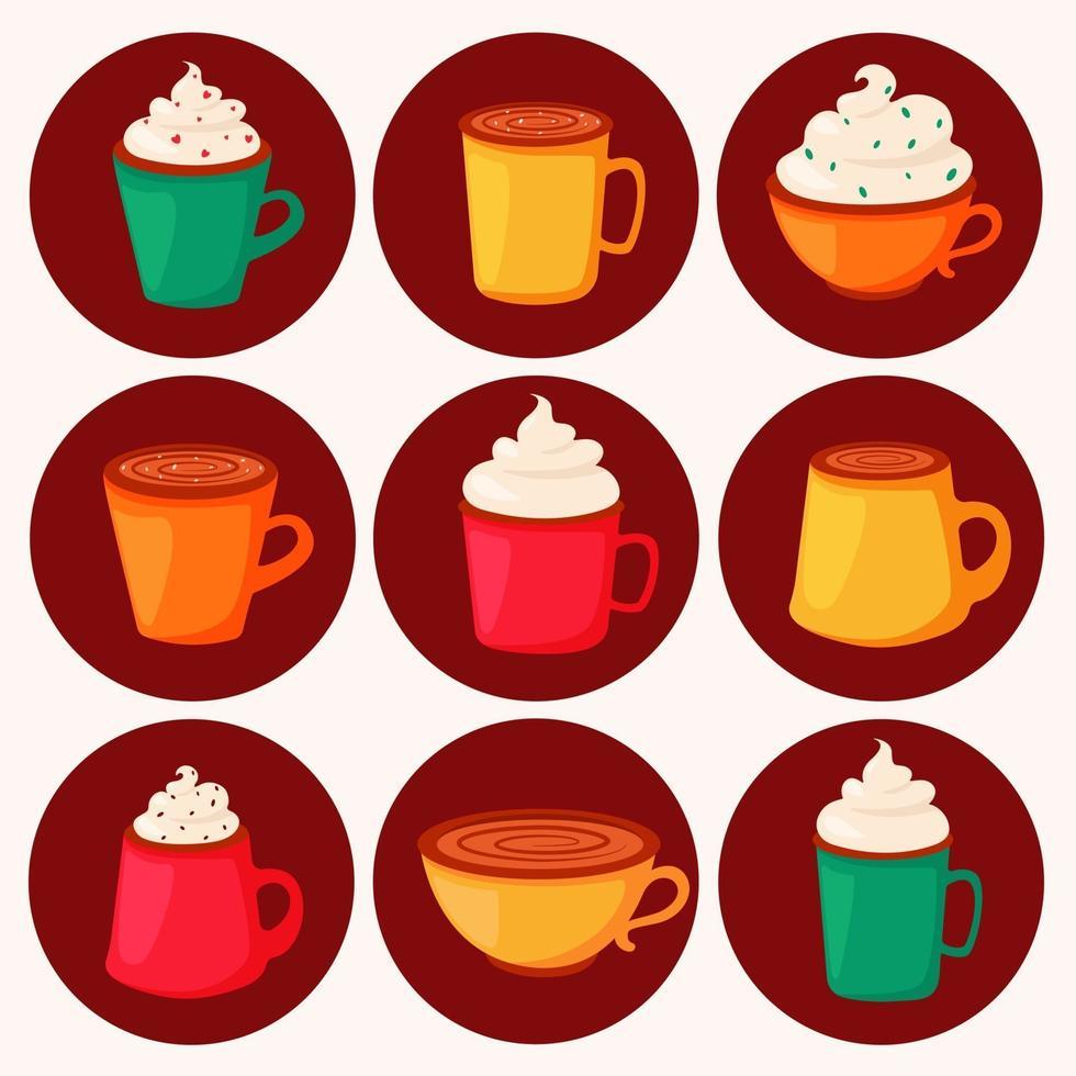 dia del cafe. diferentes tipos de café en tazas. ilustración vectorial en estilo plano. vector