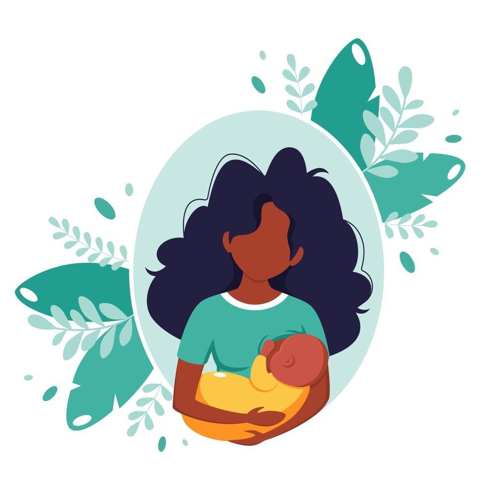 concepto de lactancia materna. mujer negra alimentando a un bebé con pecho. día mundial de la lactancia materna. ilustración vectorial vector