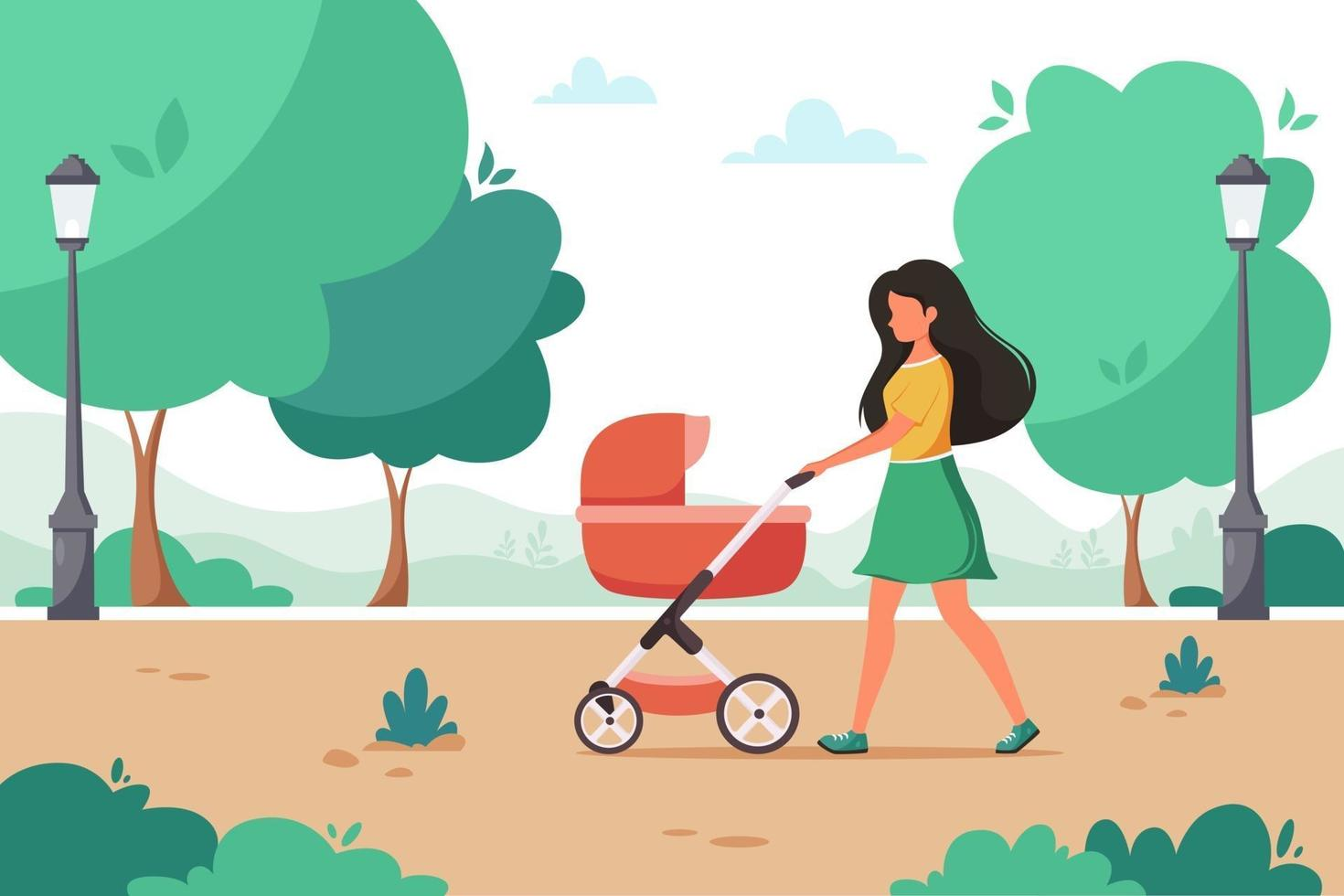Woman walking with baby carriage in city park. Outdoor activity. Vector illustration.