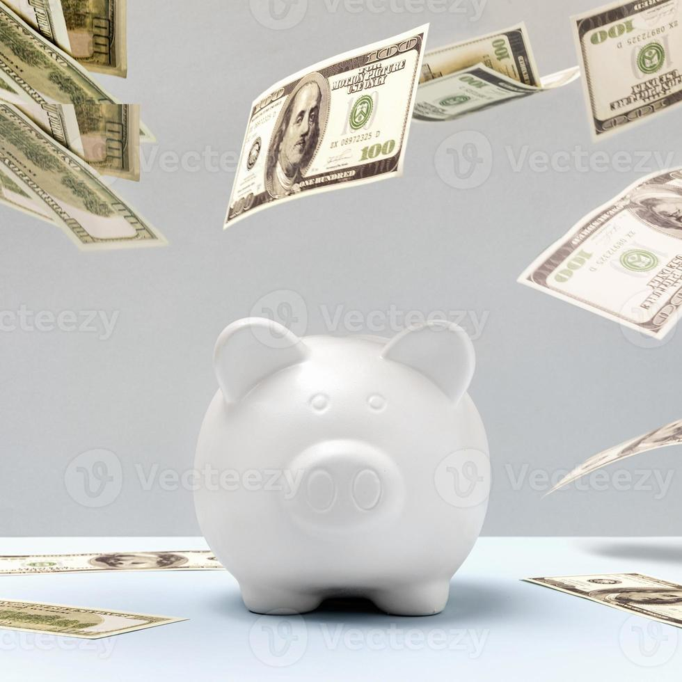 White piggy bank and dollar bills floating photo