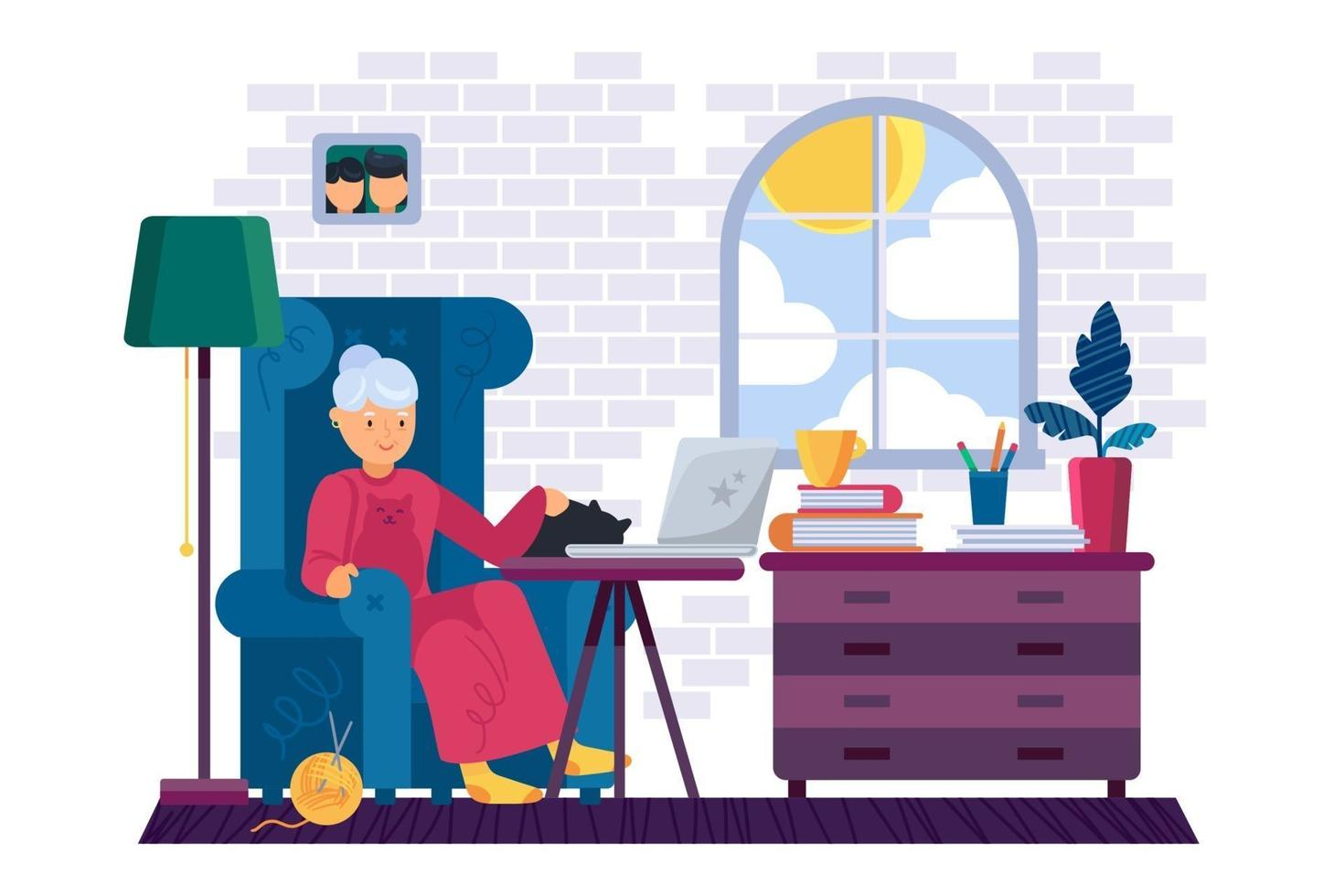 Grandma working on laptop device at home vector