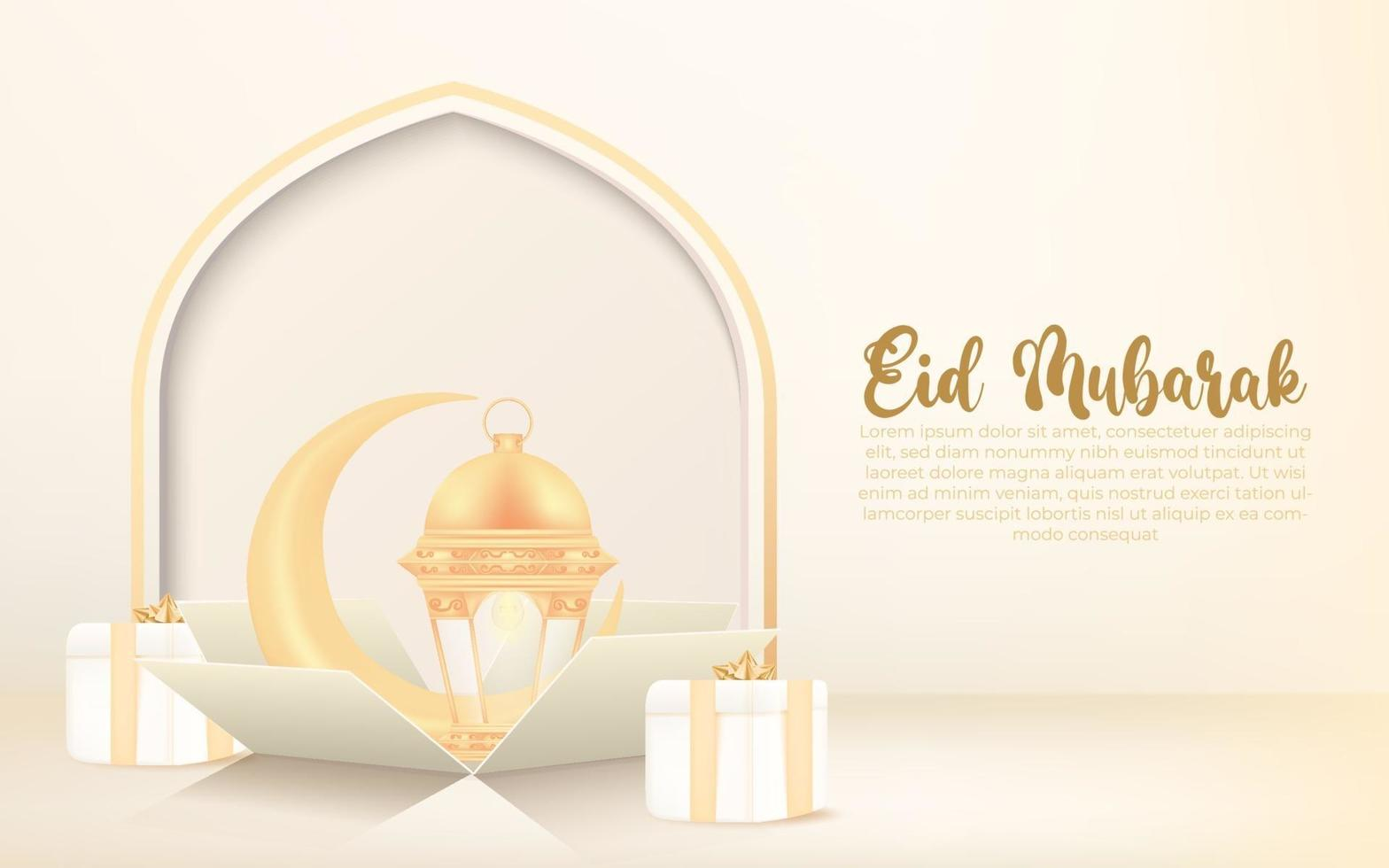 eid al-fitr background with crescent, lantern and gift box. eid mubarak banner celebration design concept. vector