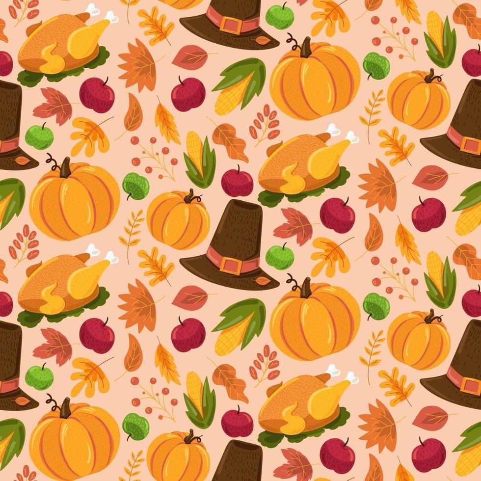 Autumn seamless pattern, cute fall texture design vector