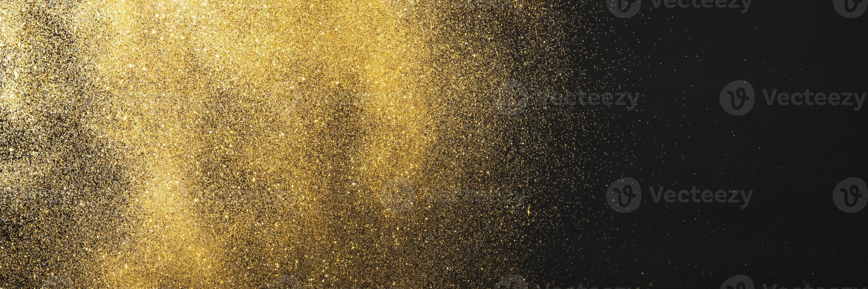 Golden glitter black background photo