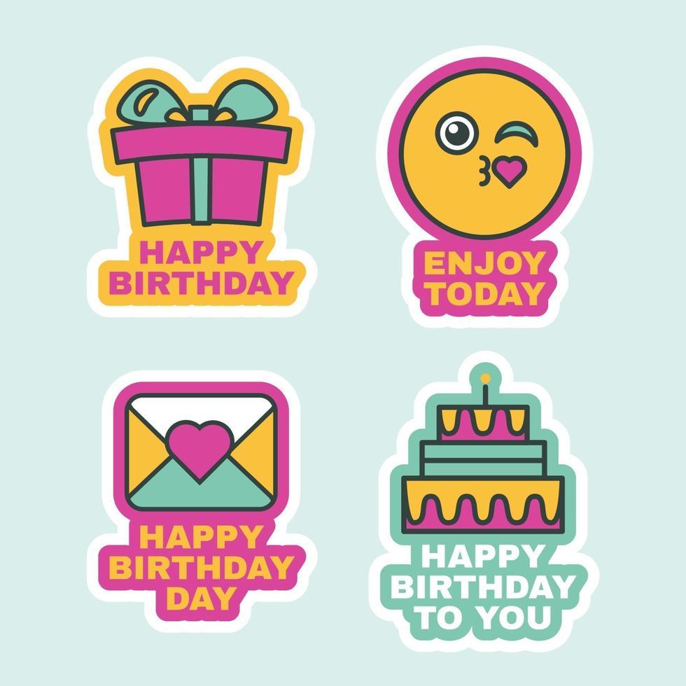 Happy Birthday Labels Comic Sticker Icon Design vector