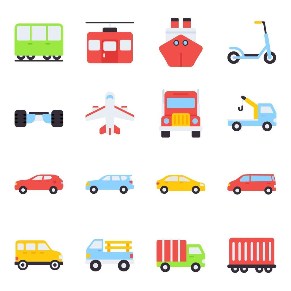 Pack of Automobiles Flat Icons vector