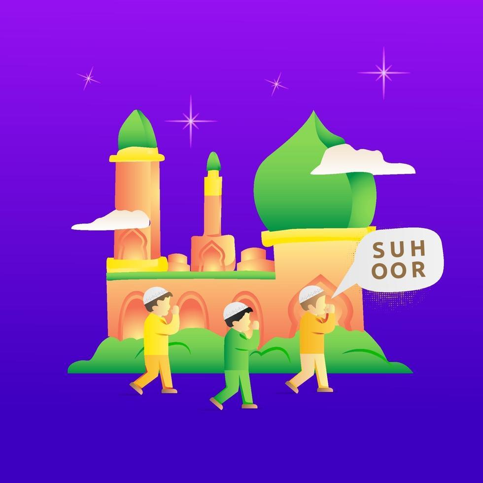 ilustración de las actividades de los niños durante el ramadán para despertar a la gente vector