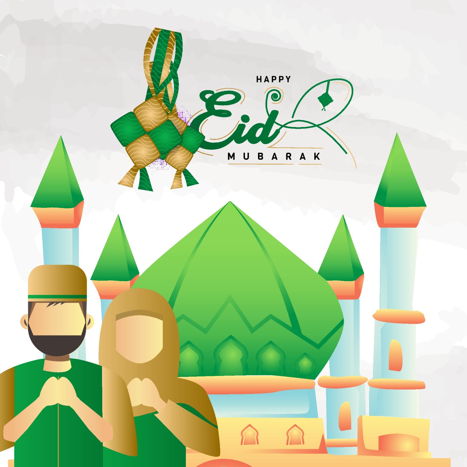 Greeting Card Happy Eid Mubarak Cartoon Illustration Vector 2276663 Download Free Vectors Clipart Graphics Vector Art