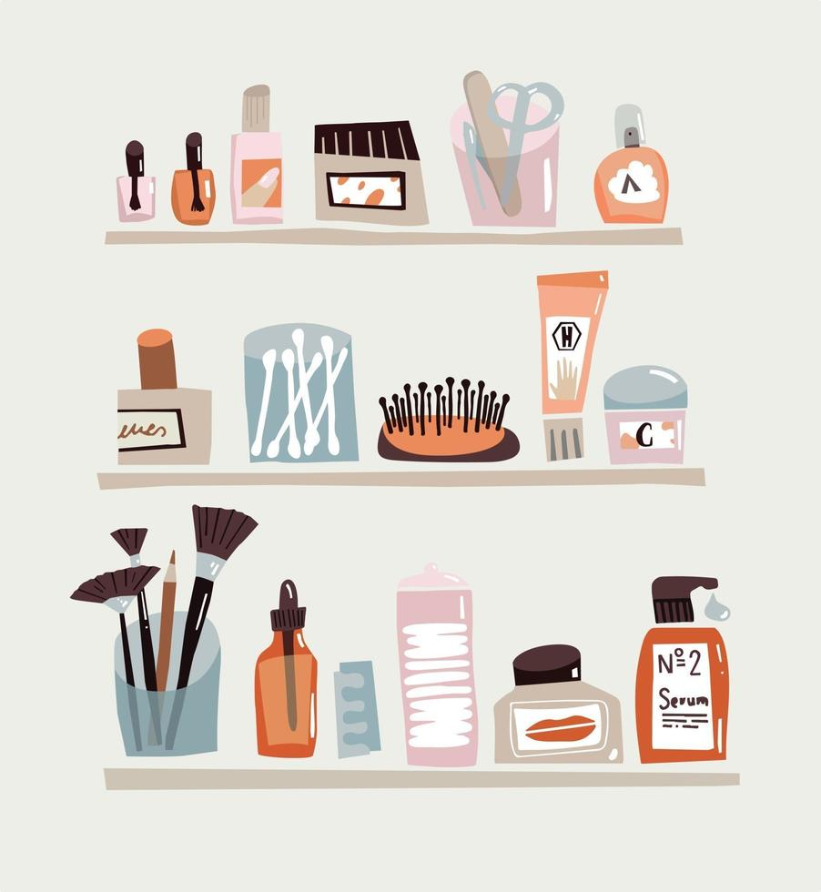 Face care doodle Set. Outline Beauty accessories for every day care. Cotton buds, nail file, cream and comb vector