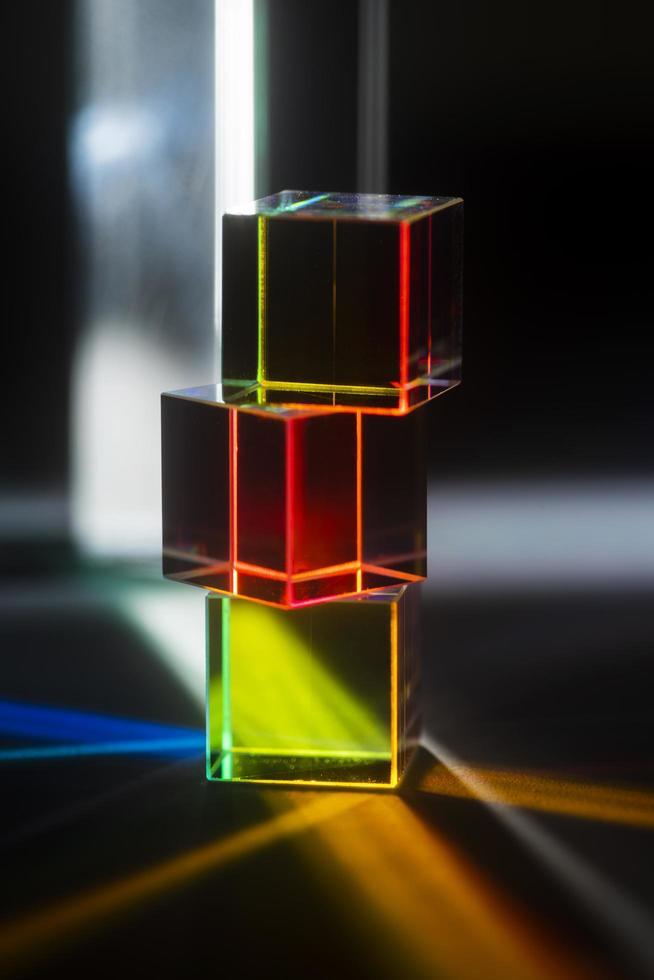 fondo de reflexión de prismas de luz de colores foto