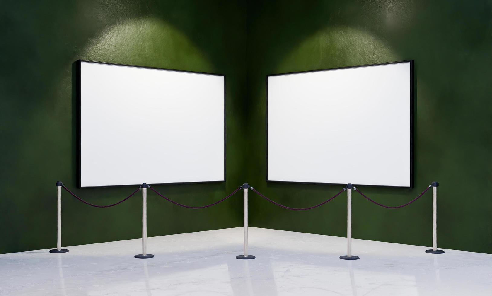 maqueta de marcos en la esquina de un museo foto