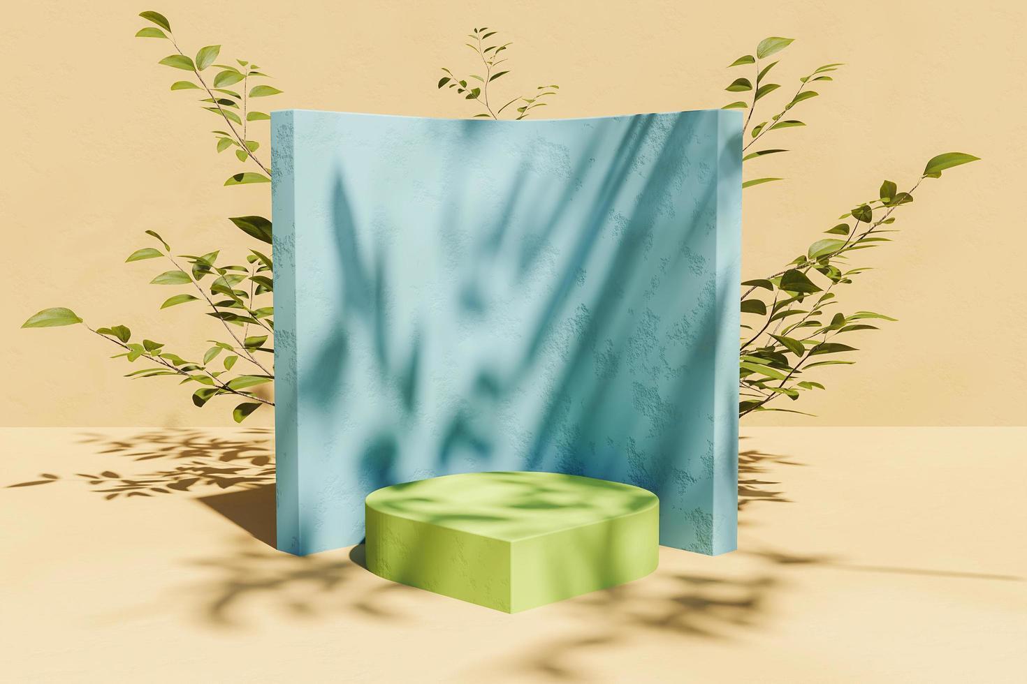 soporte para exhibición de productos con vegetación posterior y sombra de hojas, renderizado 3d foto