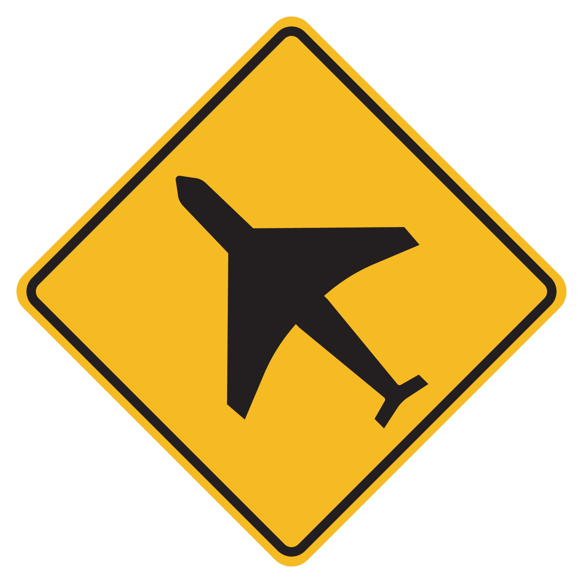 Warning signs low-flying aircraft on white background 2279467 Vector Art at  Vecteezy