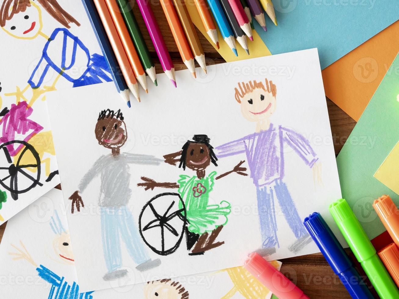 dibujo niño discapacitado amigo foto