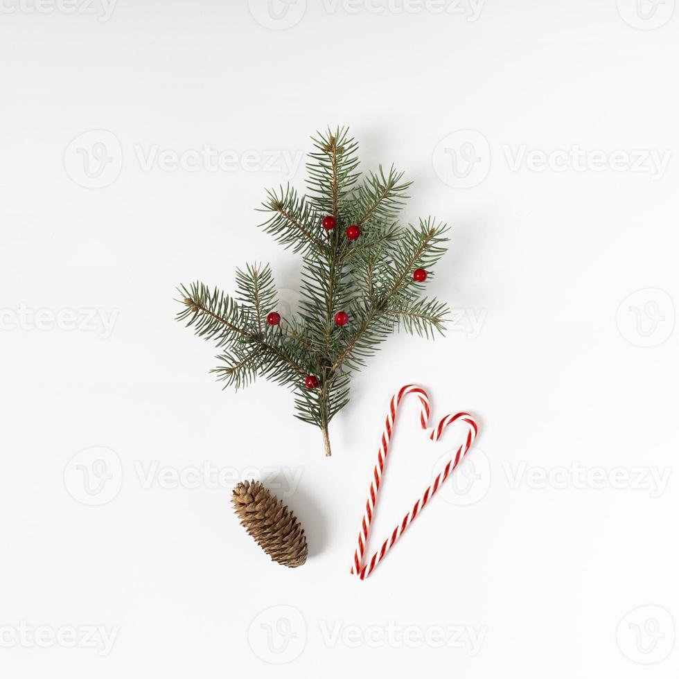 rama de abeto con cono de bastón de caramelo foto