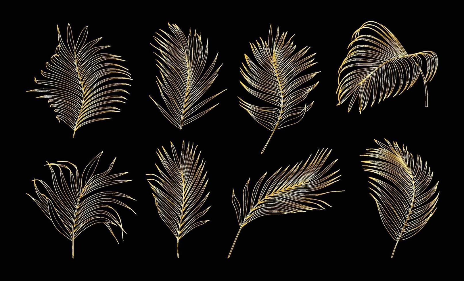 Collection of gold palm tree leaves vector