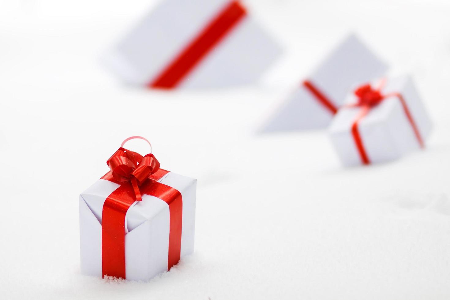 Decorative white gift boxes photo