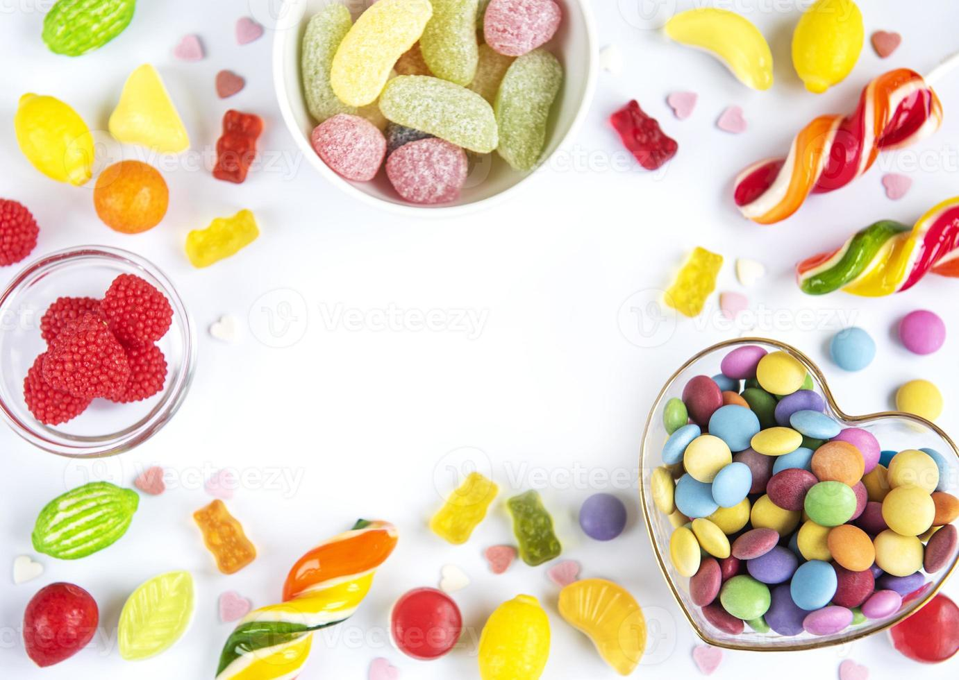 Frame of colorful candies photo