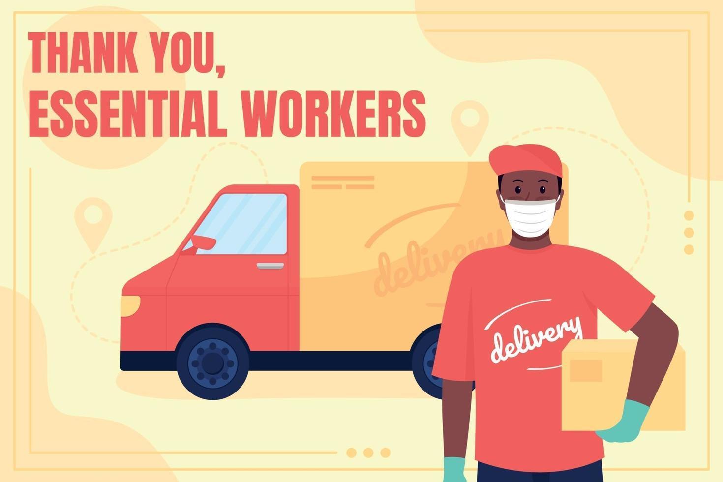 Delivery service worker social media post mockup vector