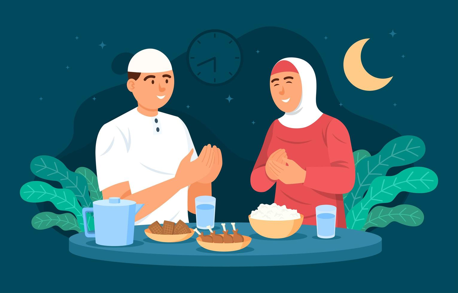Couple Celebrating Eid Mubarak Together vector