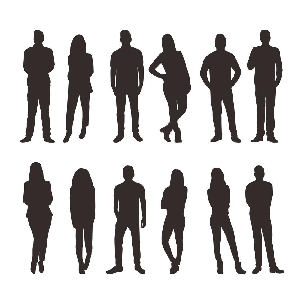People in Different Poses Silhouette Collection vector