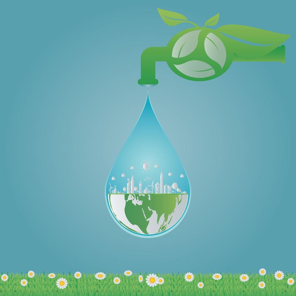Ecology,water clean energy recycling,Green cities help the world with eco-friendly concept ideas.vector illustration vector